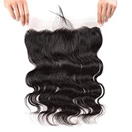 Art Show Hair 13X4 Full Frontal Lace Closure Free Part Ear to Ear 8A Body Wave Unprocessed Brazilian Virgin Remy Human Hair with Baby Hair Bleached Knots Natural Color …