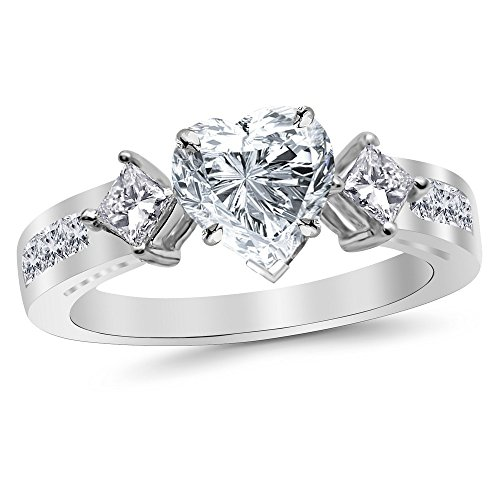1.55 Cttw 14K White Gold Heart Cut Channel Set 3 Three Stone Princess Diamond Engagement Ring with a 0.7 Carat H-I Color SI2-I1 Clarity Center