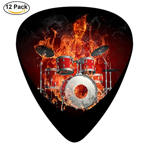 Skeleton of the Flame Drum Dunlop Guitar Picks 12-Pack Celluloid Paddles Plectrums 0.46mm/ 0.71mm/ 0.96mm DIY Fender Guitar Bass Musical - Diy Fender