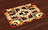 Ambesonne Arrow Place Mats Set of 4, Native American Inspired Retro Aztec Pattern Mod Graphic Design Boho Artwork, Washable Fabric Placemats for Dining Room Kitchen Table Decor, Red Orange Yellow