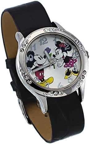 Disney #MCKAQ1223 Women's Mickey and Minnie Mouse Girl's Crystal Bezel Silver Dial Analog Watch