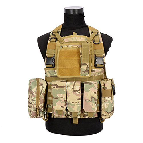 Hannah fit Tactical Molle Airsoft Vest Paintball Combat Soft Vest Tan (CP camouflage) (Tan Camo)