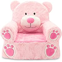Sweet Seats Sturdy and Soft Plush Bear Chair in Pink with Embroidered Details on the Face, Hands and Feet