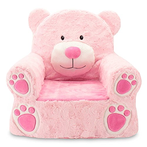 (Sweet Seats Sturdy and Soft Plush Bear Chair in Pink with Embroidered Details on the Face, Hands and)