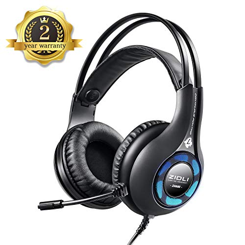 Gaming Headset, 7.1 Surround Sound Gaming Headphones, 50mm Driver, Stereo USB Headset with Noise Cancelling Mic, Over Ear Soft Memory Earmuff, LED Light, Easy Volume/Mic Control for PC, PS4,Laptops