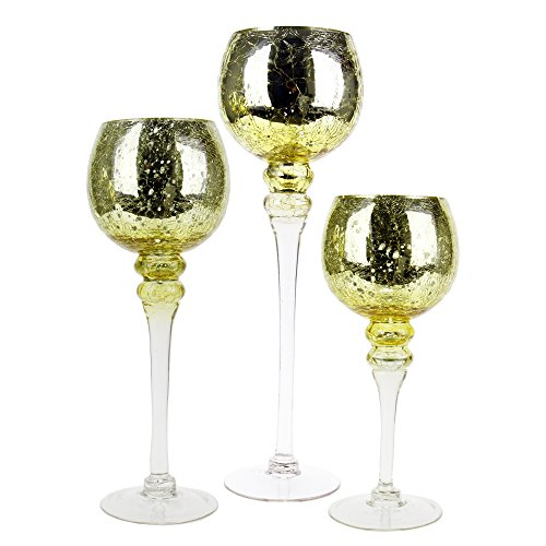 CYS EXCEL Mercury Gold Crackle Glass Candle Holder, Long Stem Candle Holder, Set of 3 (12