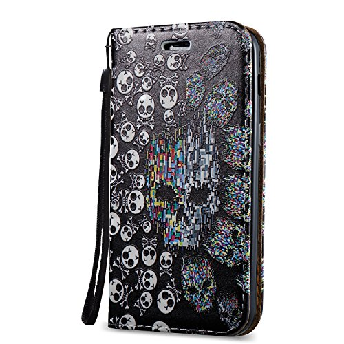 KaseHome 3D Patrón Efecto Samsung Galaxy A3 2017/A320F Wallet Funda,Negro y Blanco Carcasa en Libro PU Leather Cuero Suave Impresión Piel Caso Alta Resistencia,Dura Parachoques,Fuerte Cierre Magnético Cráneo