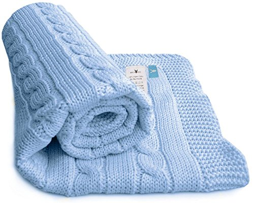 Wallaboo 100% Organic Cotton Sweater Knit Blanket, Noa, with Wide Ribbed Border, 35 x 28