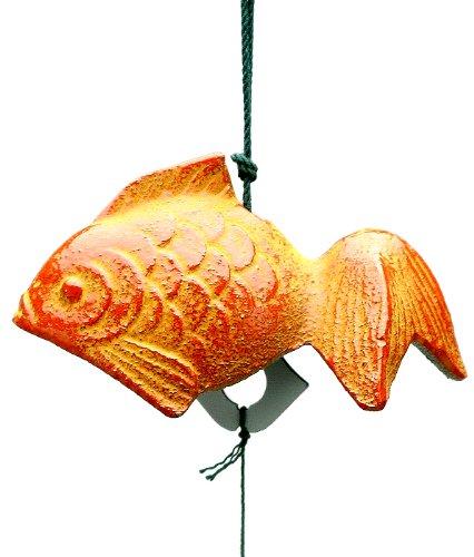 Kotobuki Iron Japanese Wind Chime, Goldfish, Orange