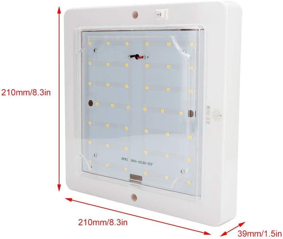 Plafonnier carr/é LED 12V24V 10W lampe de toit haute luminosit/é pour caravane yacht