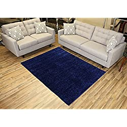 RugStylesOnline Shaggy Collection Solid Color Shag Area Rugs (Navy Blue, 5'x7') (4014)