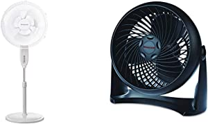 Honeywell Double Blade 16 Pedestal Fan White With Remote Control & HT-900 TurboForce Air Circulator Fan Black