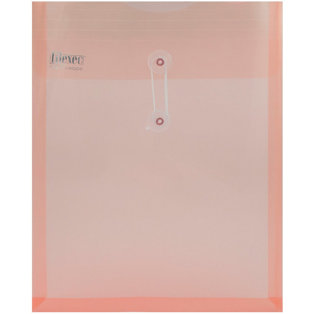 JAM Paper Plastic Envelope with Button and String Tie Closure - Letter Open End - 10 1/4'' x 13'' - Pink Frosted -108/pack
