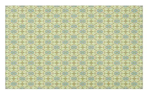 Lunarable Blue Green Doormat, Antique Ornaments with Damask Inspired Motifs Victorian Swirls, Decorative Polyester Floor Mat with Non-Skid Backing, 30 W X 18 L inches, Army Green Pale Green Blue by Lunarable