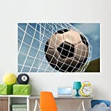 Soccer Ball Goal against Wall Mural by Wallmonkeys Peel and Stick Graphic (72 in W x 43 in H) WM17009