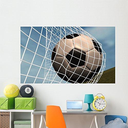 Soccer Ball Goal against Wall Mural by Wallmonkeys Peel and Stick Graphic (72 in W x 43 in H) WM17009 by Wallmonkeys