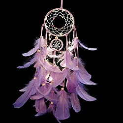 LED Dream Catcher Purple Feather Chandelier Ornaments Handmade Indian Wall Decoration for Wall Decor Hanging Home Decor 25 inch (Purple +Lights)