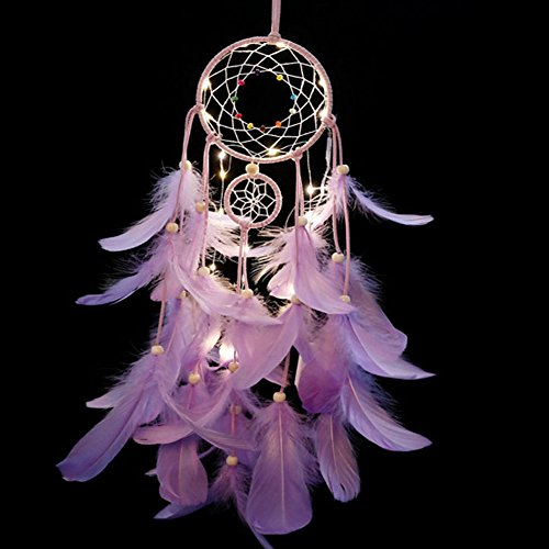 LED Dream Catcher Purple Feather Chandelier Ornaments Handmade Indian Wall Decoration for Wall Decor Hanging Home Decor 25 inch (Purple +Lights) by SISdecor