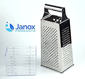 Cheese Grater - Box Grater 4-Sided Stainless Steel with Container for cheese grating, vegetable slicing and shredding