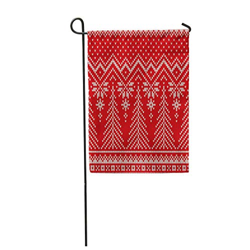 Semtomn Garden Flag Winter Holiday Knit Pattern Christmas Trees Scheme for Knitted 28