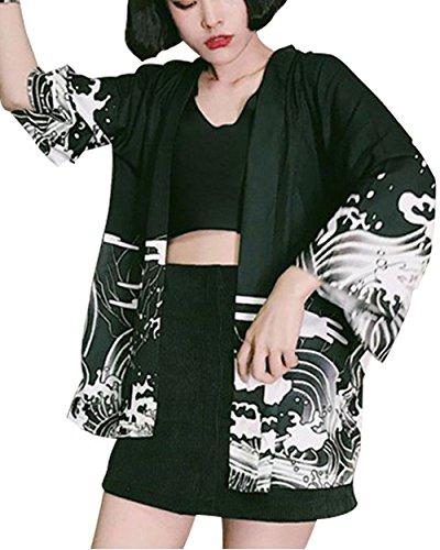 (라쿠에스토) Laquest 해피 텐 텐 셔츠 일본식 디자인 세련된 모던 미남 올라 용 축제 합피 모노톤 걸스 여성
