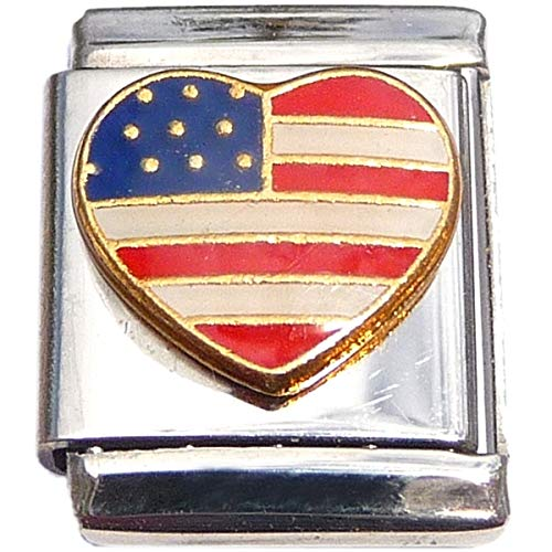 Patriotic US Flag Heart 13mm Italian Charm (not compatible with smaller 9mm charms) 9mm Italian Charm Patriotic Flag