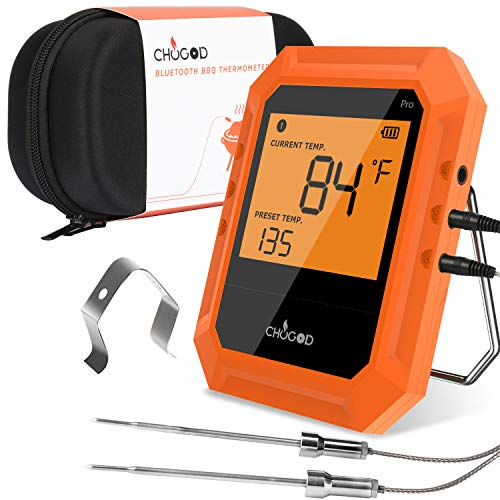 Bbq Meat Thermometer Bluetooth Remote Cooking Thermometer Digital Oven Thermometer With 6 Probe Port For Smoker Grilling Carrying Case Included