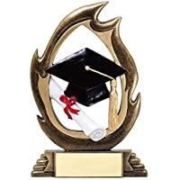 Decade Awards Graduation Flame Series Trophy | Commencement Award | 7.25 Inch Tall - Customize Now