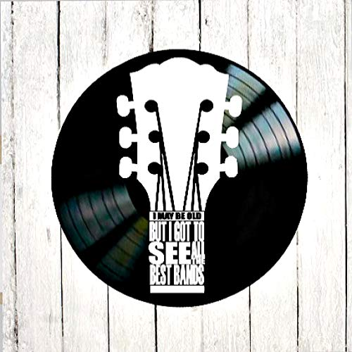 I May Be Old but I Saw All the Best Bands quote on a Vinyl Record Album Dad Gift