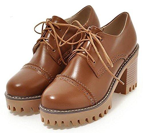 Easemax Womens Vintage Platform High Chunky Heels Lace Up Brogues Pumps Brown EUAJd4N