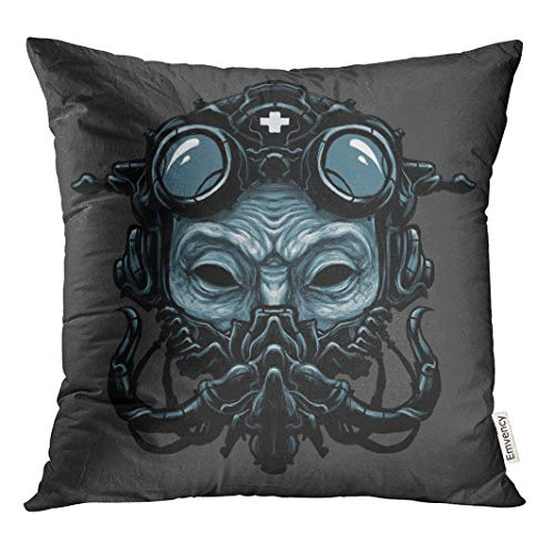 Semtomn Decorative Throw Pillow Case Cushion Cover Adjustable Steampunk Ant Head Digital Adult BDSM Belt Costume Cyberpunk 20x20 Inch Cases Square Pillowcases Covers -