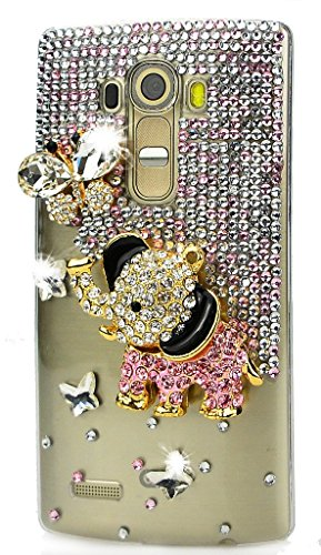 LG V10 Case, STENES Luxurious Crystal 3D Handmade Sparkle Diamond Rhinestone Clear Cover with Retro Bowknot Anti Dust Plug – Elephant Butterfly / Pink