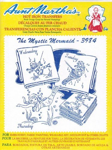 The Mystic Mermaid Aunt Martha's Hot Iron Embroidery Transfer