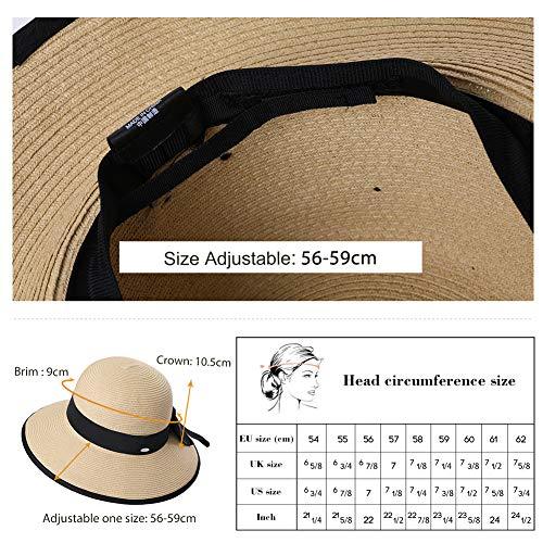 Jeff   Aimy Ladies Straw Sun Hat Wide Brim SPF UV Protection Foldable  Panama Fedora Cloche 4f65bf0f9982