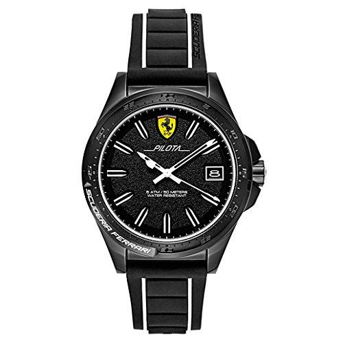 Ferrari-Mens-Pilota-Quartz-Stainless-Steel-and-Rubber-Casual-Watch-ColorBlack-Model-830422
