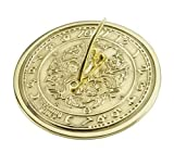 ANTIQUECOLLECTION Solid Polished Brass 'Morning Glory' Sundial with a Flowers & Vines Design - Various Sizes (190mm / 7 1/2'' Diameter)