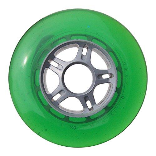 プラスチックハブスクーターホイールシルバー/グリーン5スポークハブ100 mm