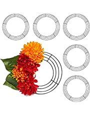 Round Metal Floral Wire Wreath Frame for Christmas (8 Inches, 6 Pack)