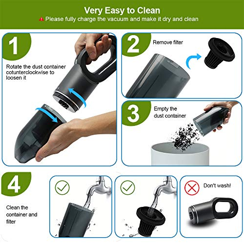 Handheld Vacuum Cordless, Portable Car Vacuum Cleaner 7000Pa Powerful Handheld Hoover, 2 Speeds, USB Charging, Lightweight Vacuum Cleaner for Home, Car and Pet