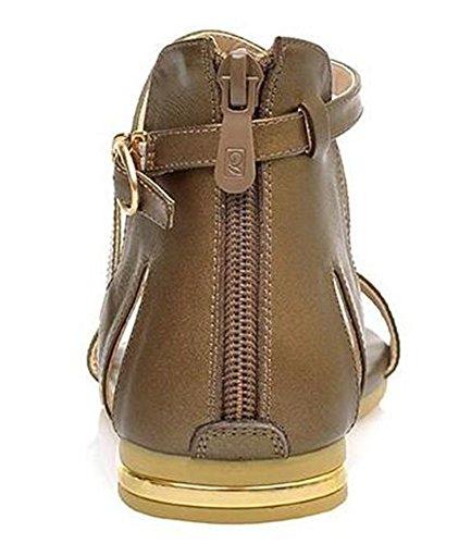 Sandalo Gladiator Sandali Gladiatore Con Cerniera Piatta Posteriore Da Donna Easemax Open Toe