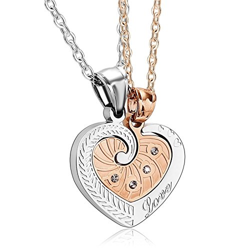 Costumes Her Nerd And His (His and Hers Necklace Stainless Steel Pendant for Women Men Heart Puzzle