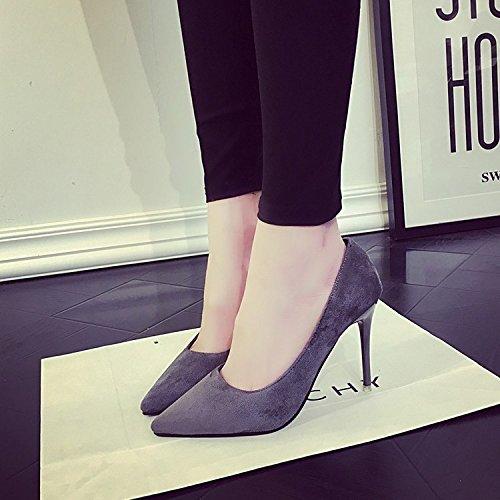 HRCxue 10cm Wild Femme Chaussures Pointe fine avec talons hauts, Satiné avec chaussures de mariage Chaussures seule femelle 35