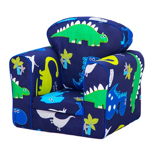 Kids Toddler Upholstered Armchair Children's Furniture - Dino in the Dark Boxify
