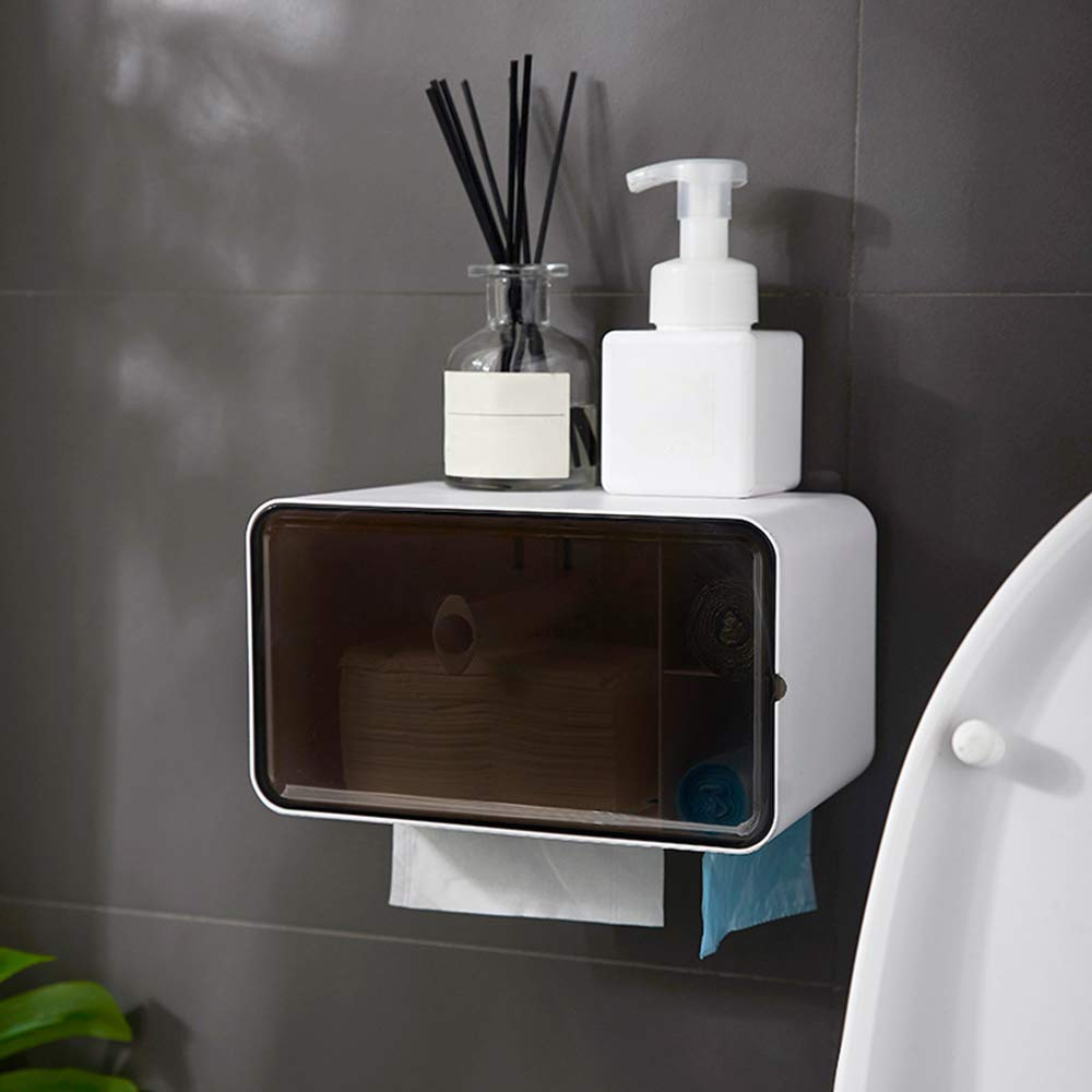 ERT Paper Towel Dispenser,Waterproof Punch Free Paper Towel Holder Tissue Box Roll Holde with Garbage Bag Toilet Paper Holder