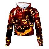 Sweatshirt Crop Top Funny 3D Horror Hoodies for Women Pumpkin Lantern Print Cat Ear Pocket Pullover Blouse WEI MOLO