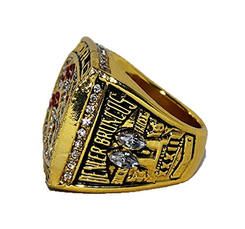 DENVER BRONCOS (John Elway) 1998 SUPER BOWL XXXIII WORLD CHAMPIONS Vintage Rare & Collectible High Quality Replica NFL Football Gold Championship Ring with Cherrywood Display Box