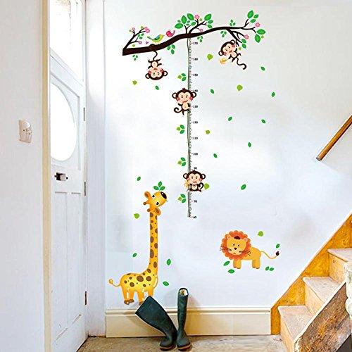 Minimum scale: 60cm BIBITIME Cartoon Forest Flower Tree Birds Lion Giraffe 4 Monkey Height Chart Wall Decal for Nursery Kids Room Growth Measurement Charts