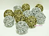 Christmas Gifts : Small Golden And Silver Rattan Ball, Wicker Balls, DIY Vase And Bowl Filler Ornament, Decorative spheres balls, Perfect For Decoration And Party 2.5 inch, 12 Pcs.