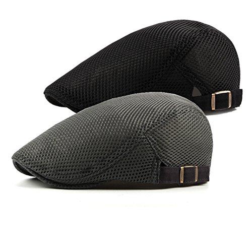 - Bigface Up 2 Pack Men's Cotton Flat Cap Beret Cabbie Hunting Hat Summer Newsboy Cap(Black+Gray)