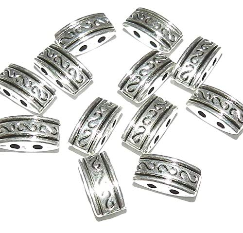 Antiqued Silver 2-Strand 10mm Rectangle Spacer Bar Metal Bead 100pc ()
